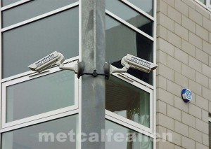 Typical CCTV camera installation using full sized housings