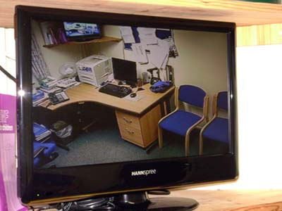 Monitor showing actual camera images